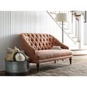 Rachael Ray Home by Craftmaster Upstate Traditional Button Tufted Settee with Turned Legs