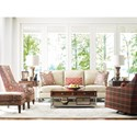 Rachael Ray Home by Craftmaster R0631 - R0632 - R0633 Transitional Chair and Ottoman Set with Light Brass Nailheadsc