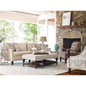 Rachael Ray Home by Craftmaster Upstate Traditional Tufted Chair with Pewter Nails and Exposed Wood Arms