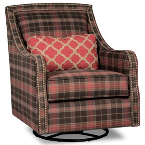 Rachael Ray Home by Craftmaster R067 Swivel Chair w/ Brass Nails