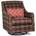 Rachael Ray Home by Craftmaster Upstate Transitional Border Back Swivel Glide Chair with Brass Nail Border - Chair Shown May Not Represent Exact Features Indicated