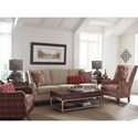 Rachael Ray Home by Craftmaster Upstate Transitional English Arm Sofa with Ribbon Trim and Nailheads