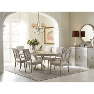 Oval Table and Upholstered Chair Set