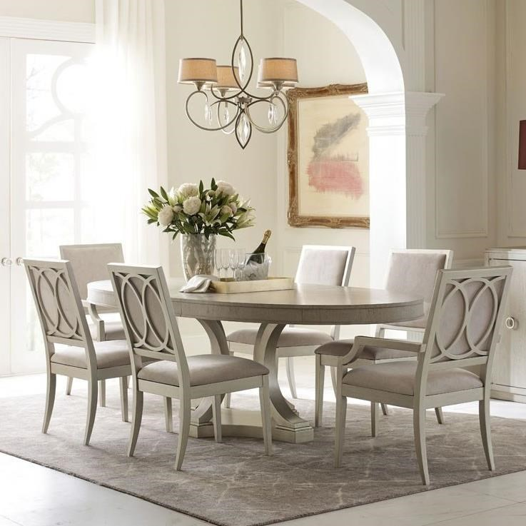 Rachael Ray Home by Legacy Classic Cinema Oval Table and Upholstered Chair Set - Item Number: 7200-621K+2x7201-141 KD+2x140 KD
