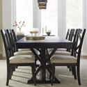 Rachael Ray Home by Legacy Classic Everyday Dining Trestle Table And 6 Upholstered Chairs - Item Number: 7003-421K+6x440 KD