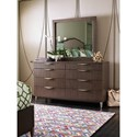 Rachael Ray Home by Legacy Classic Soho Mid-Century Modern Eight Drawer Dresser with Wood Framed Mirror