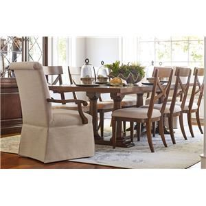 Rachael Ray Home by Legacy Classic Upstate Trestle Table, 2 Host Arm Chairs & 4 Side Ch