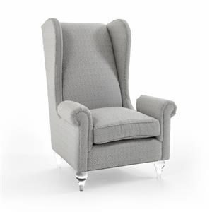 Rachlin Classics Calliope Wing Chair w/ Acrylic Feet