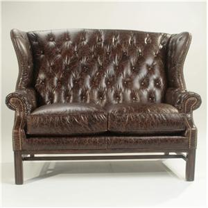 Rachlin Classics Candace Wing Back Settee with Button Tufting and Nailhead Trim