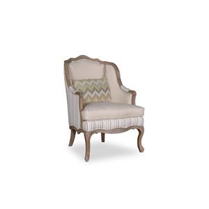 Rachlin Classics Colleen Accent Chair with Exposed Wood Carved Detail
