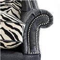Rachlin Classics Hope Traditional Zebra and Croc Wing Chair with Nailhead Border