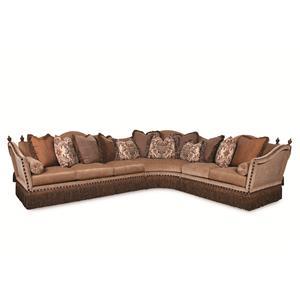 Rachlin Classics Lorraine Fringed Sectional Sofa