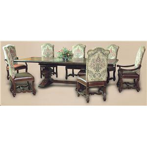 Rare Collections Castlegate 8 Piece Trestle Dining Table Set