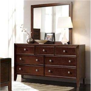 Milan  Mid-Century Dark Brown 7-Drawer Dresser & Landscape Mirror Set by RiversEdge Furniture