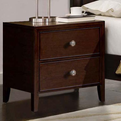 RiversEdge Furniture Milan Mid Century Dark Brown Nightstand