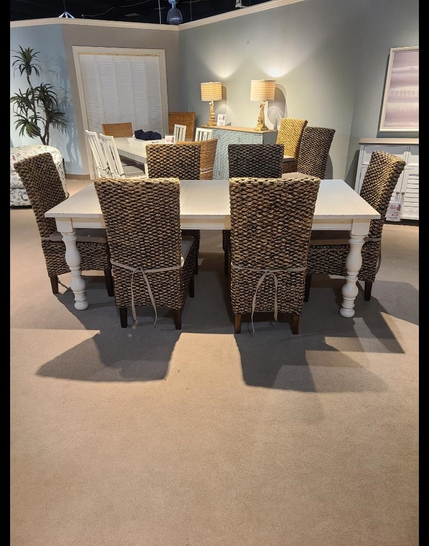 Aberdeen Dining table with Woven Side Chairs by Riverside Furniture at Esprit Decor Home Furnishings