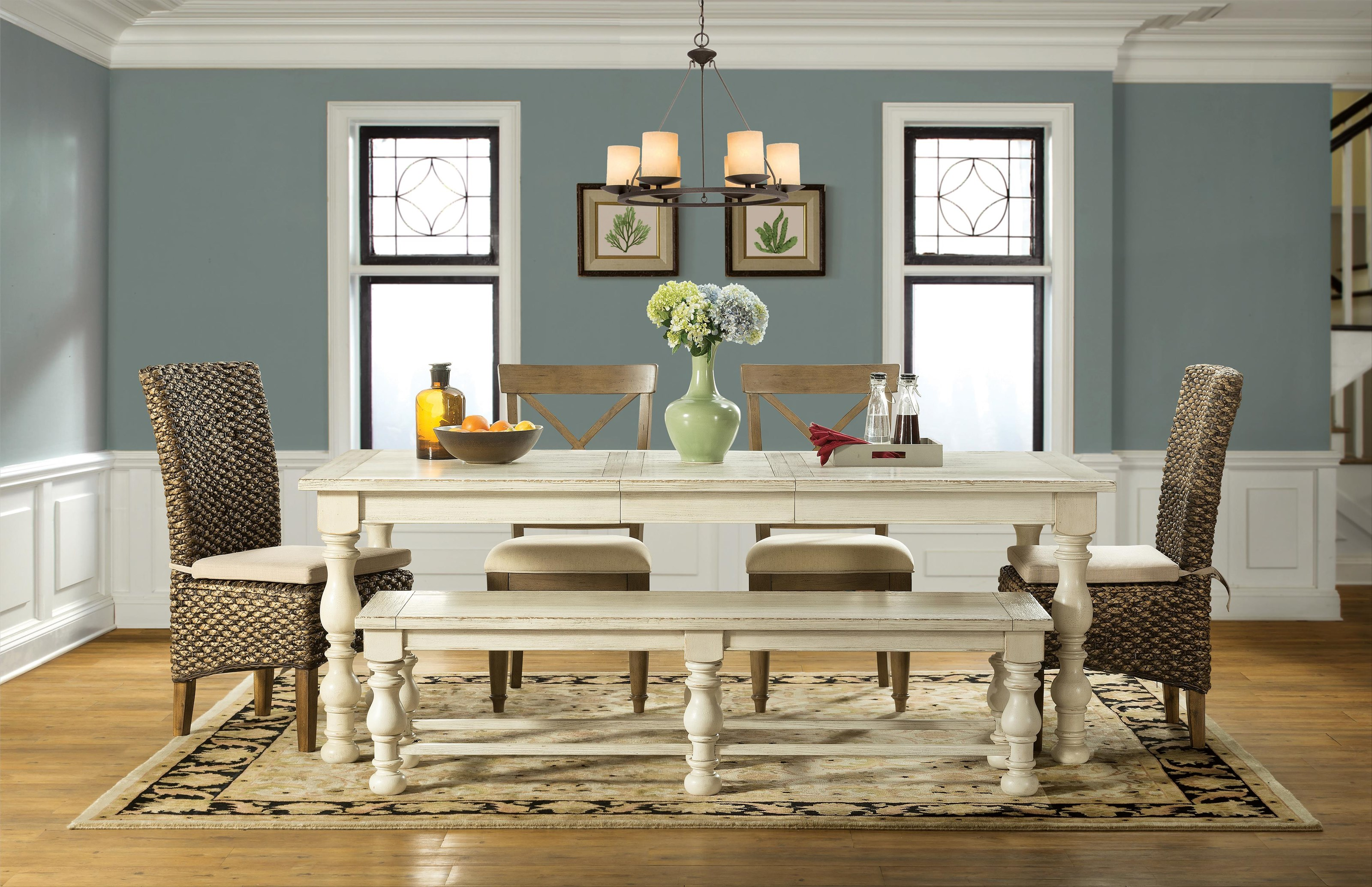 Aberdeen Table, 4 Chairs, Bench by Riverside Furniture at Johnny Janosik