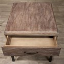 Riverside Furniture Axis 1-Drawer Side Table with Metal Frame Base