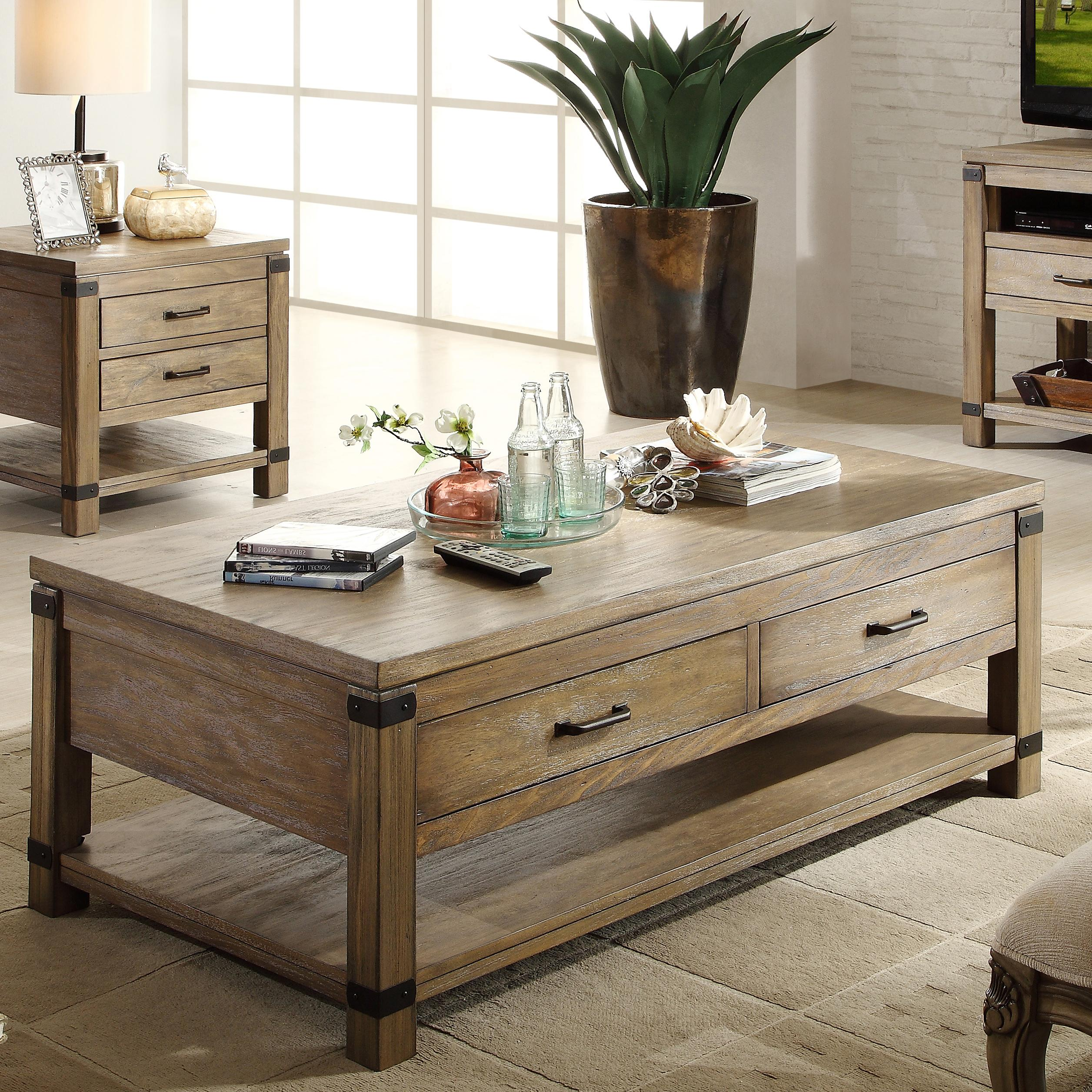 Riverside Furniture Bay Cliff Rectangular Cocktail Table with 2 Drawers - Hudsonu0026#39;s Furniture ...