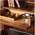 Riverside Furniture Bristol Court Large Office Computer Desk and Hutch - Drop-Front Center Drawer with 3-Section Charging Box and 3-Outlet Corded Powerbar