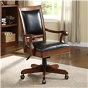 Riverside Furniture Bristol Court Caster Equipped Wooden Desk Chair with Leather Covered Seat
