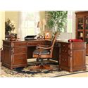 Riverside Furniture Bristol Court Caster Equipped Wooden Desk Chair with Leather Covered Seat - Shown with L Desk and Return