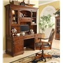 Riverside Furniture Bristol Court Caster Equipped Wooden Desk Chair with Leather Covered Seat - Shown with Computer Credenza and Hutch