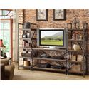 Riverside Furniture Camden Town Rectangular Console Table with 2 Shelves - Shown as Wall Unit with Etagere Piers