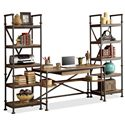 Riverside Furniture Camden Town Open Etagere with 5 Shelves - Shown with Table Desk