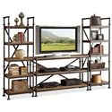 Riverside Furniture Camden Town Open Etagere with 5 Shelves - Shown with TV Console