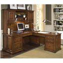 Riverside Furniture Cantata Traditional L Computer Workstation and Hutch - Filing and Storing Options Are Aplenty