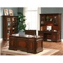 Riverside Furniture Cantata 76 Inch Closed Bookcase - Shown with Double Pedestal Desk, Credenza and Hutch