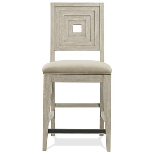 Upholstered Wood-Back Counter Stool
