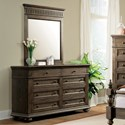 Riverside Furniture Cassidy Traditional 8 Drawer Dresser and Portrait Mirror Combo