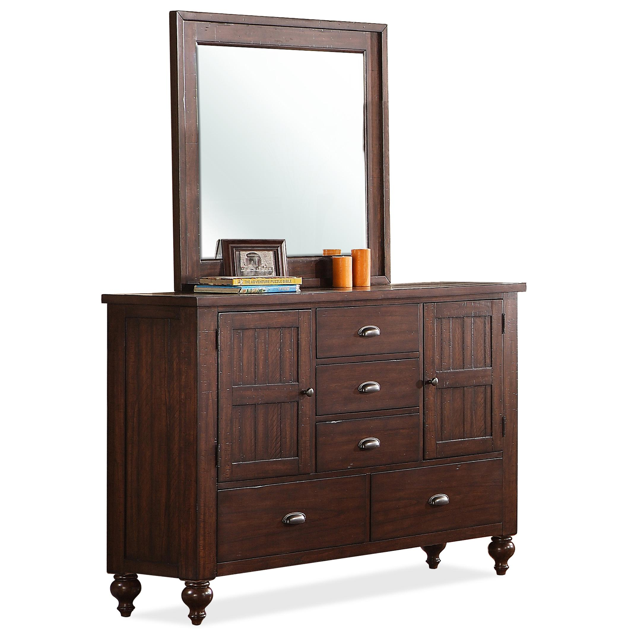 Riverside Furniture Castlewood Dresser and Mirror Combo - Item Number: 335-62+63