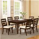 Riverside Furniture Castlewood 7 Piece Dining Set with Rectangular Table with Turned Legs and Ladder Back Chairs