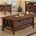Riverside Furniture Claremont  Rectangular Cocktail Table with 2 Removable Wicker Storage Baskets - Shown in Room Setting