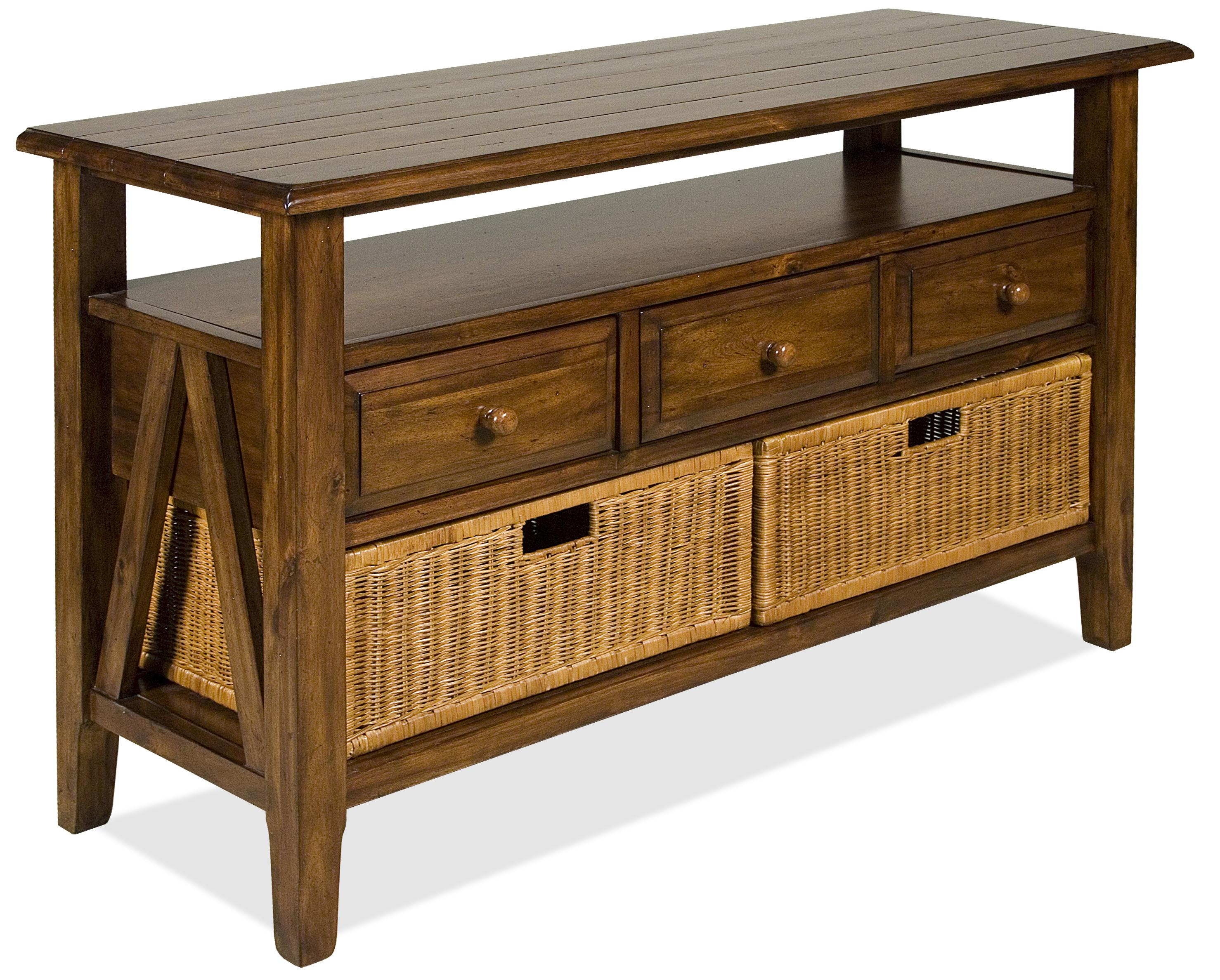 Riverside Furniture Claremont 3 Drawer Console Table With Storage Baskets    AHFA   TV Or Computer Unit Dealer Locator