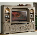 Riverside Furniture Corinne 4 Door Entertainment Console in Sun-Drenched Acacia Finish - Shown with Wall Unit