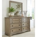 Riverside Furniture Corinne 6 Drawer Dresser in Sun-Drenched Acacia Finish