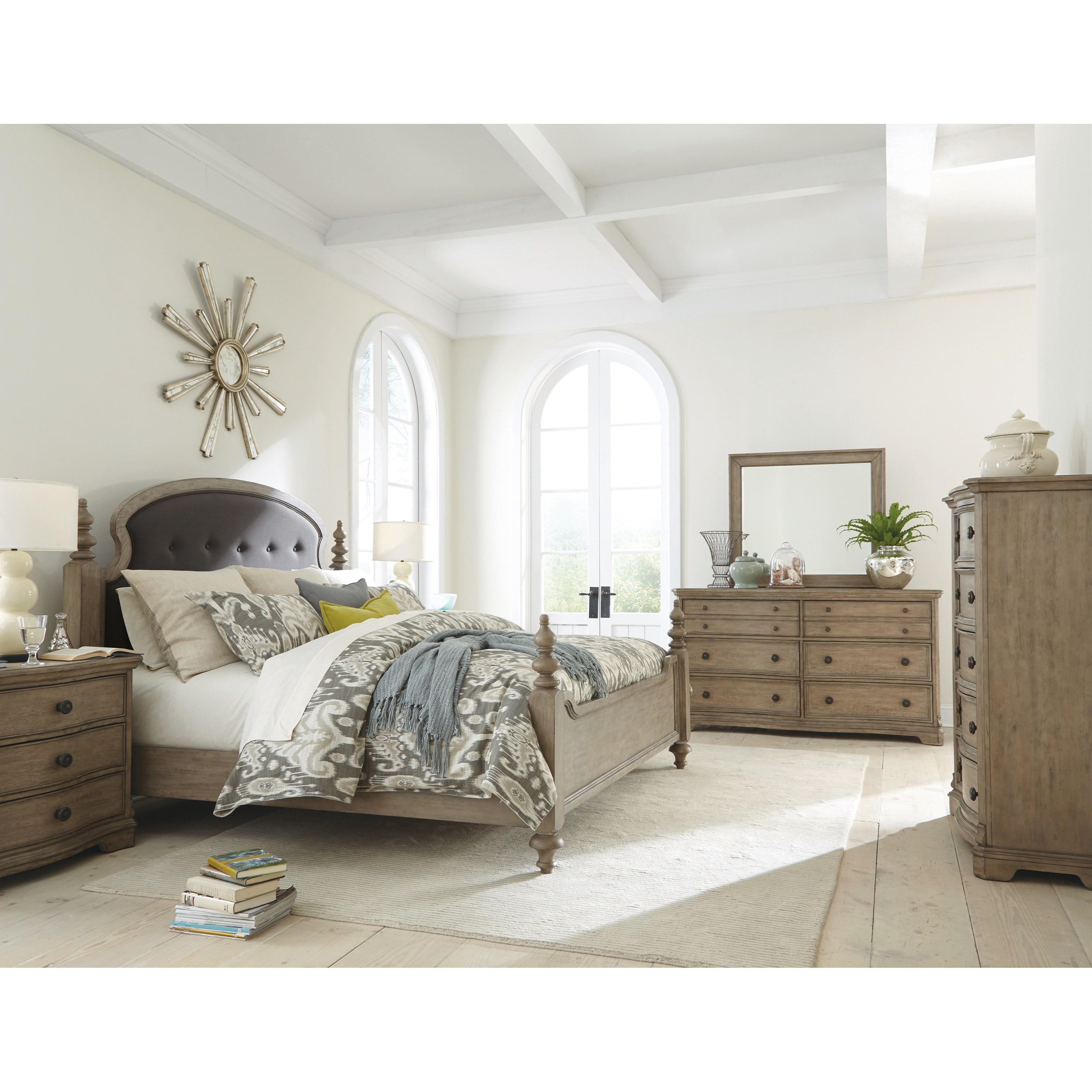 Riverside Furniture Corinne Queen Upholstered Poster Bed