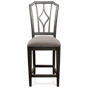 Riverside Furniture Corinne Uph Stool Diamond Bk 2in