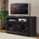 Riverside Furniture Corinne TV Console with Decorative Wood Motif Overlays