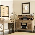Riverside Furniture Coventry Writing Desk with 3 Drawers & Outlet Powerbar - Shown with Credenza & Hutch