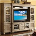 Riverside Furniture Coventry 2 Door TV Console & Hutch with 6 Shelves - 32440+42 - Shown with End Piers as Stand-Alone Wall Unit