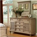 Riverside Furniture Coventry Shutter Door Dresser with 5 Drawers & Adjustable Shelving - 32460 - Shown with Mirror in Bedroom