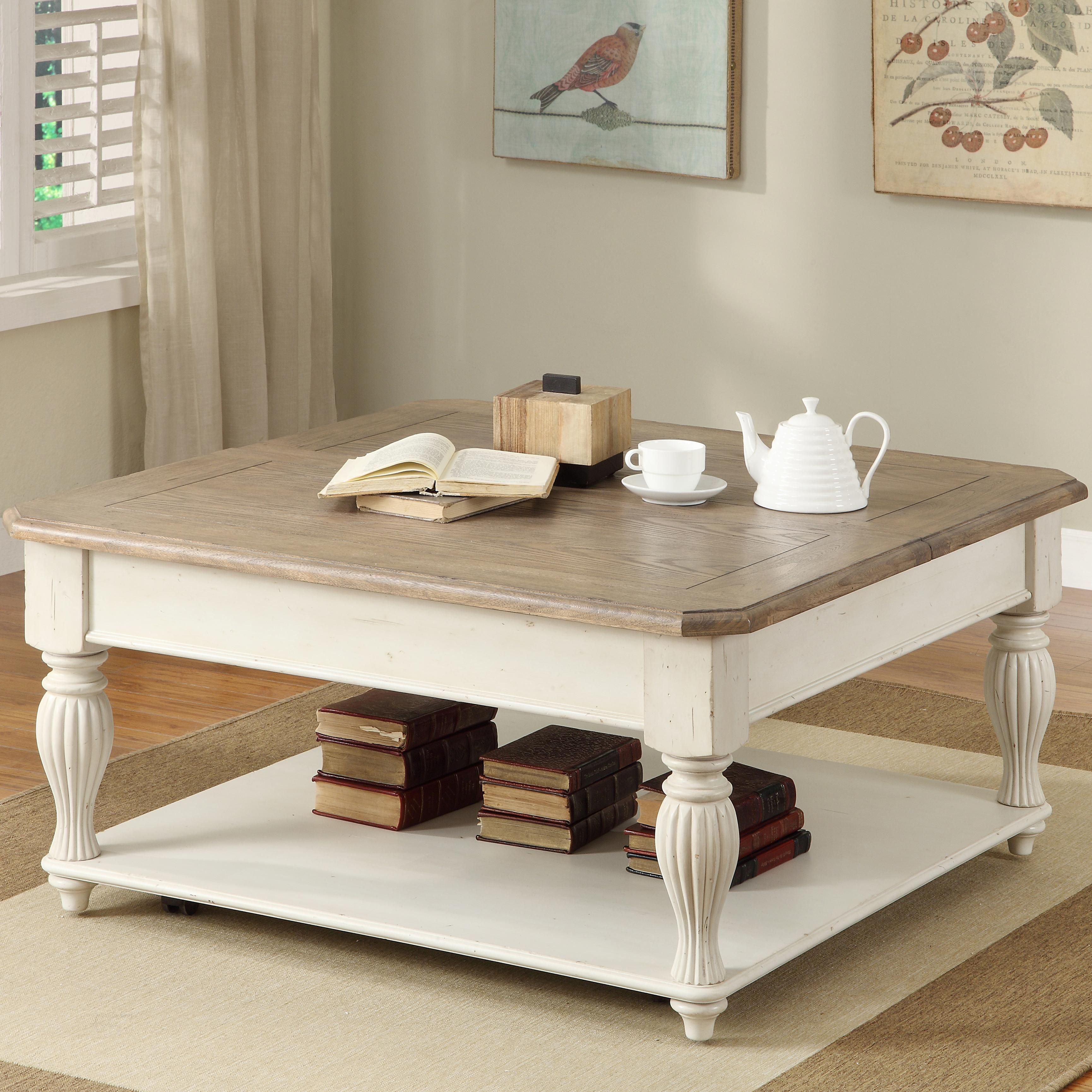 Square Coffee Table Size: Coventry Two Tone Square Lift-Top Coffee Table With Fixed