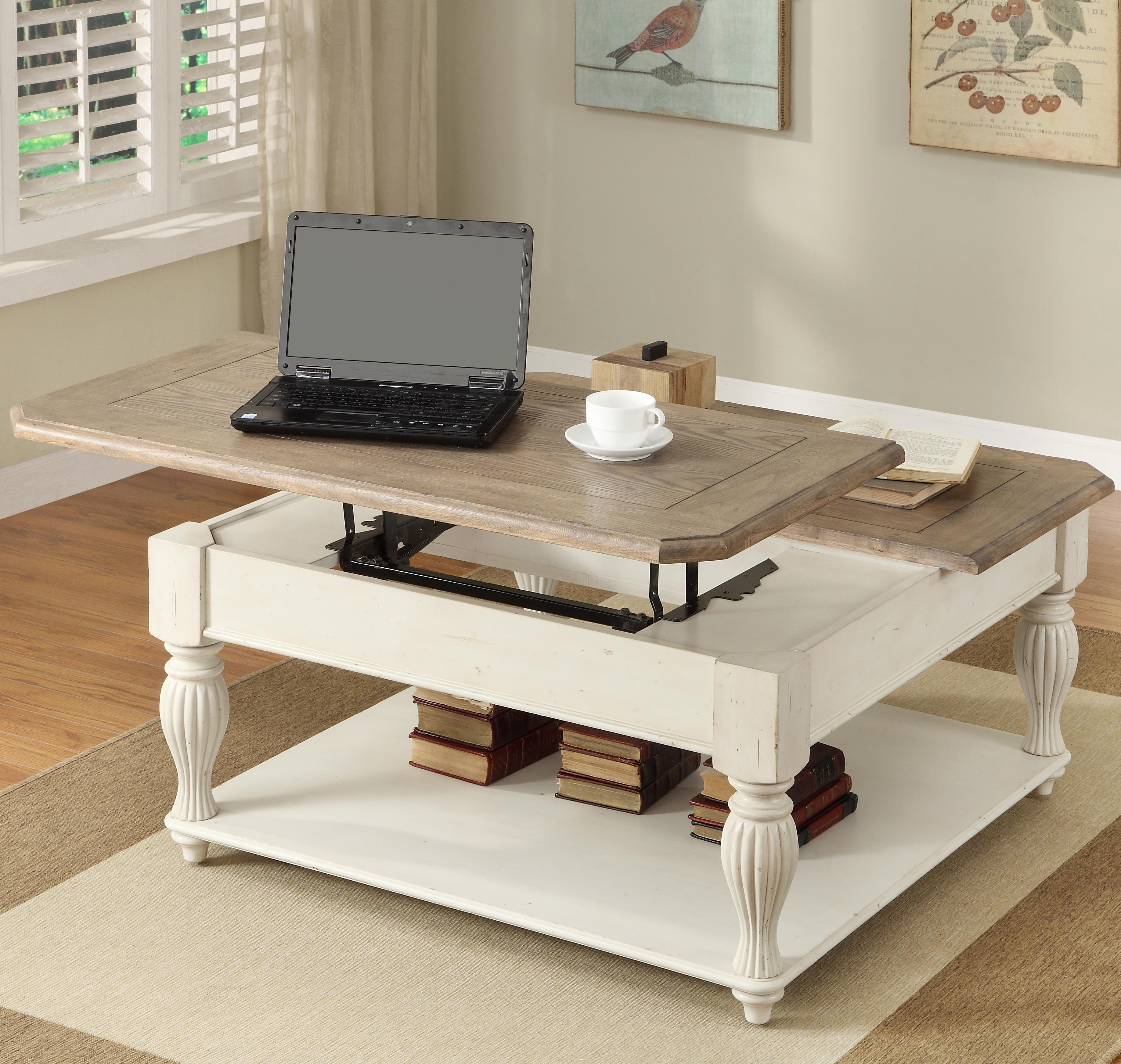 Coventry Two Tone Square Lift-Top Coffee Table With Fixed