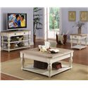 Riverside Furniture Coventry Two Tone Square Lift-Top Coffee Table with Fixed Bottom Shelf - 32501 - Shown with Console Table & End Table