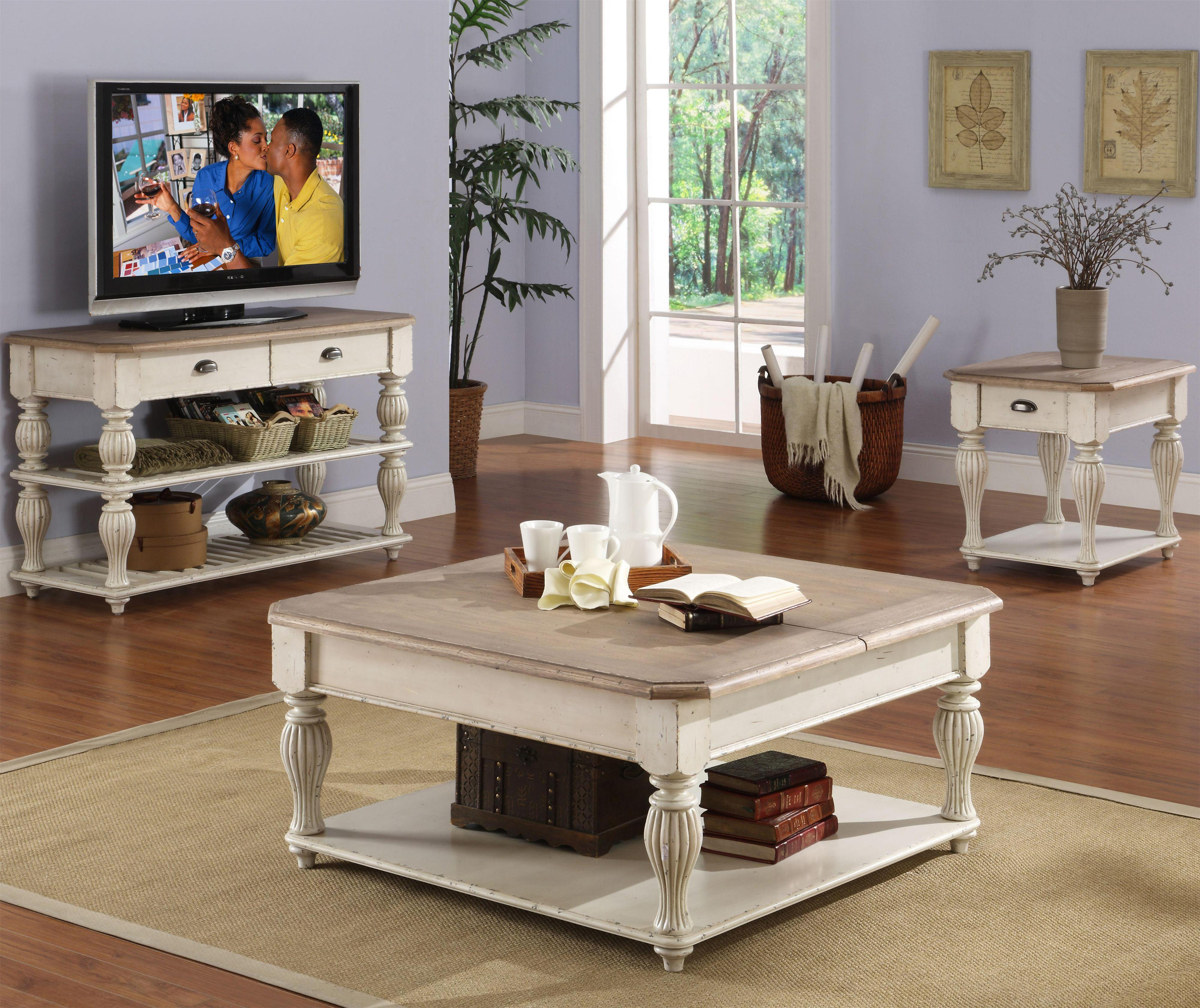 Lift Top Coffee Table Hardware Canada: Riverside Furniture Coventry Two Tone Wood Slat Console